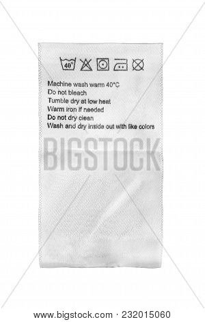 White Textile Care Clothes Label Isolated Over White