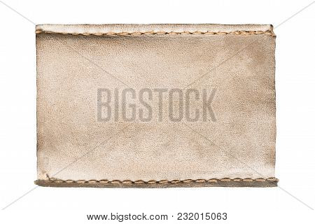 Blank Yellow Leather Label Isolated Over White