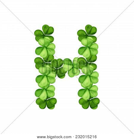 Letter H Clover Ornament Isolated On White Background