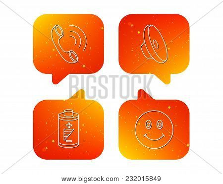 Phone Call, Battery And Sound Icons. Smiling Face Linear Sign. Orange Speech Bubbles With Icons Set.