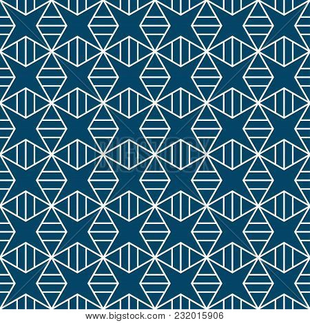 Indigo Blue Star Square Pattern Seamless Background
