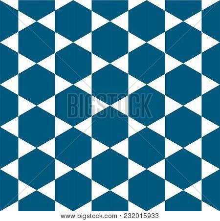 Indigo Blue White Star Pattern Seamless Background