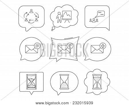 Teamwork, Presentation And Meeting Chat Bubbles Icons. E-mail Inbox, Hourglass Linear Signs. Linear