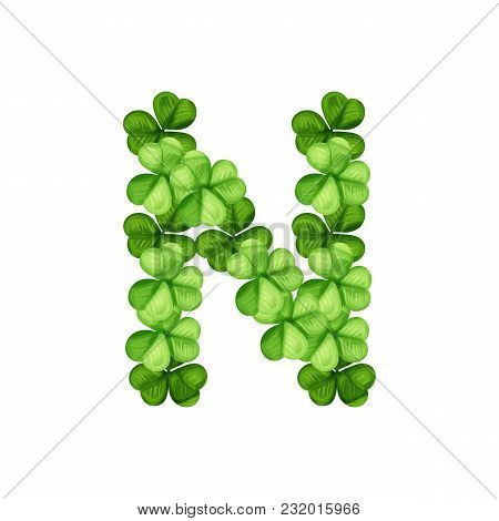 Letter N Clover Ornament Isolated On White Background