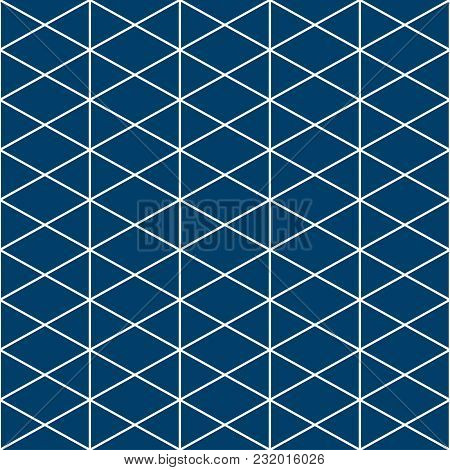 Triangle White Indigo Pattern Seamless Background. Vector Illustration.