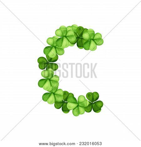 Letter C Clover Ornament Isolated On White Background