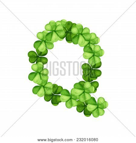 Letter Q Clover Ornament Isolated On White Background
