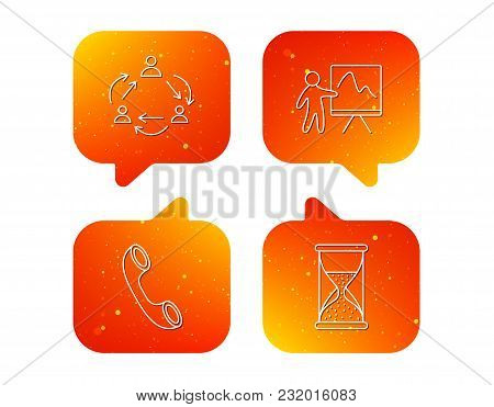 Teamwork, Presentation And Phone Call Icons. Hourglass Linear Sign. Orange Speech Bubbles With Icons