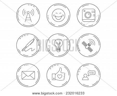 Mail, Photo Camera And Lightbulb Icons. Pen, Gps And Telecommunication Linear Signs. Faq, Like And S