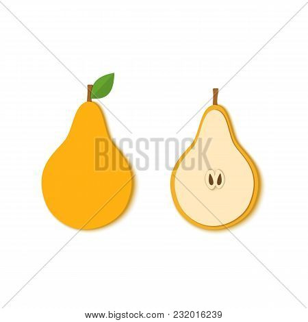 Paper Cut Yellow Pear. Vector Illustration. Paper Art Style Apple. Origami Concept. Vector Paper Cut