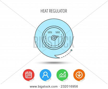 Heat Regulator Icon. Radiator Thermometer Sign. Calendar, User And Business Chart, Download Arrow Ic