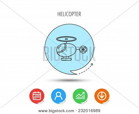 Helicopter Icon. Urban Air Transport Sign. Calendar, User And Business Chart, Download Arrow Icons.