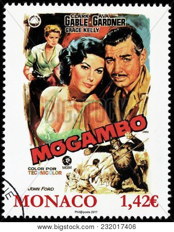 Luga, Russia - March 17, 2018: A Stamp Printed By Monaco Shows Ava Gardner, Clark Gable, Grace Kelly