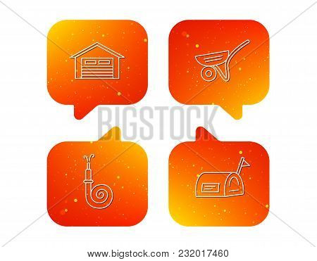Mailbox, Garage And Fire Hose Icons. Trolley Linear Sign. Orange Speech Bubbles With Icons Set. Soft