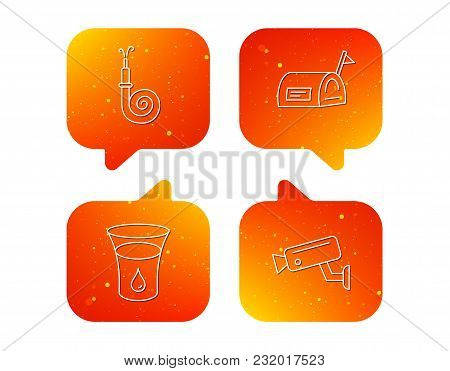 Mailbox, Video Monitoring And Fire Hose Icons. Glass Of Water Linear Sign. Orange Speech Bubbles Wit