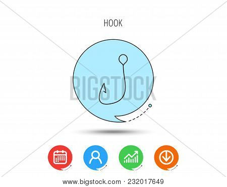 Fishing Hook Icon. Fisherman Equipment Sign. Angling Symbol. Calendar, User And Business Chart, Down