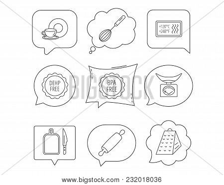 Kitchen Scales, Whisk And Grater Icons. Rolling Pin, Board And Knife Linear Signs. Food And Drink, B