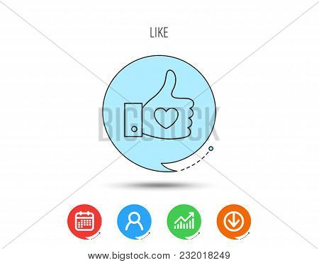 Thumb Up Like Icon. Super Cool Vote Sign. Social Media Symbol. Calendar, User And Business Chart, Do