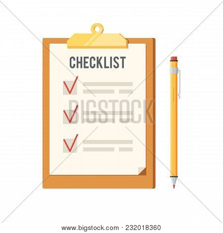 Checklist And Pen Icon. Clipboard With Red Ticks Checkmarks. To-do List, Survey, Exam Concepts. Vect