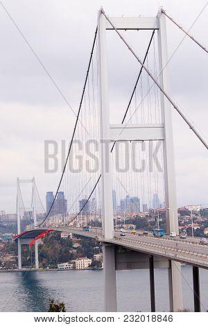 Bosphorus Bridge And European Side Of Istanbul, Turkey.