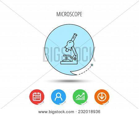 Microscope Icon. Medical Laboratory Equipment Sign. Pathology Or Scientific Symbol. Calendar, User A