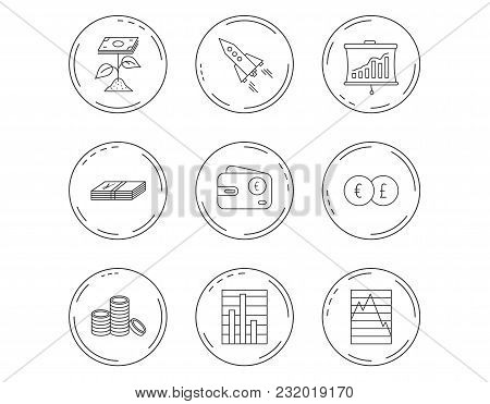 Profit Investment, Cash Money And Startup Rocket Icons. Wallet, Currency Exchange And Euro Linear Si