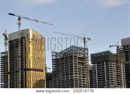 Construction Phase Of The Complex High-rise Buildings.china.yiwu