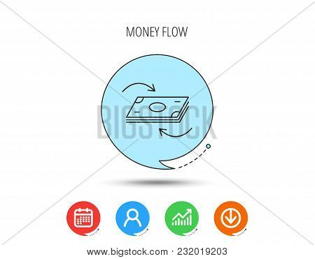 Money Flow Icon. Cash Investment Sign. Currency Exchange Symbol. Calendar, User And Business Chart,