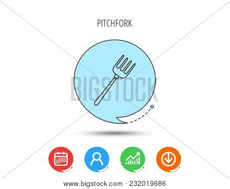 Pitchfork Icon. Agriculture Sign Symbol. Calendar, User And Business Chart, Download Arrow Icons. Sp
