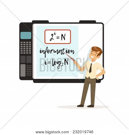 Schoolboy Standing In Front Of An Interactive Whiteboard With Mathematics Formulas, Modern School Le