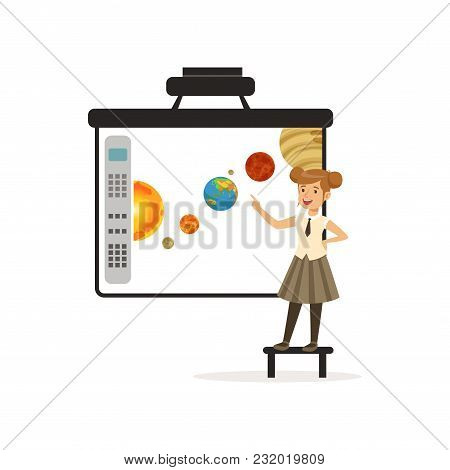Schoolgirl Standing In Front Of An Interactive Whiteboard, Astronomy Lesson At School Vector Illustr
