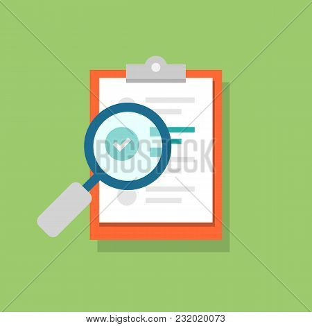 Clipboard Icon And Magnifying Glass. Confirmed Or Approved Document. Flat Illustration Isolated On C