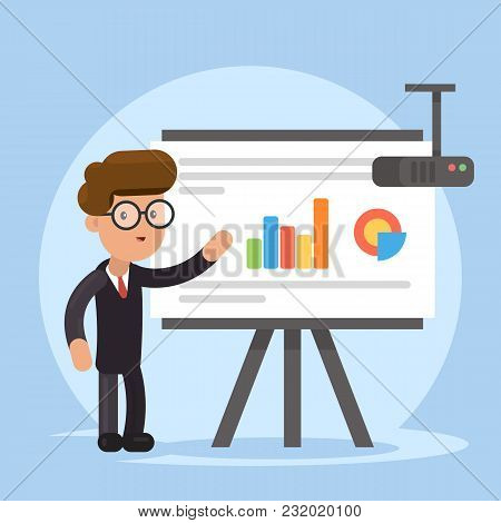 Businessman And Graphs On Projector Screen. Presentation Concept, Seminar, Training, Conference. Bus