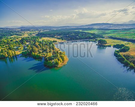 Aerial Landscape Of Scrivener Dam Between Lake Burley Griffin And Molonglo River In Canberra, Act Au