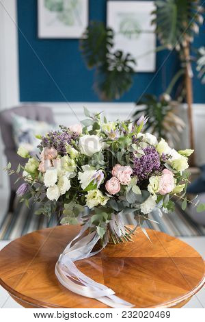 Sunny Spring Morning In Living Room. Beautiful Luxury Bouquet Of Mixed Flowers On Wooden Table. The