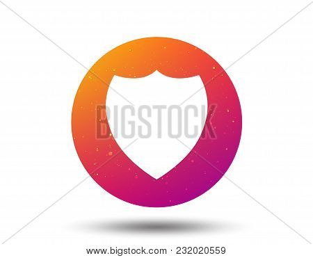 Shield Protection Icon. Defense Equipment Symbol. Circle Button With Soft Color Gradient Background.