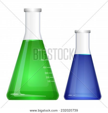Laboratory Flask With Narrow Neck. Blue And Green Liquids In Flasks Vector Isolated On White. Erlenm