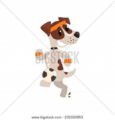 Cute Jack Russell Terrier Athlete Jogging, Funny Sportive Pet Dog Character Doing Sports Vector Illu