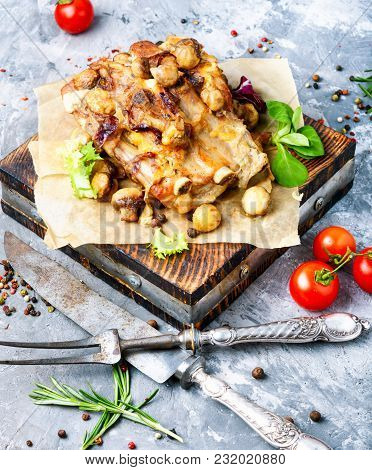 Baked Meat With Mushrooms