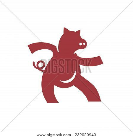 Dancing Piggy Symbol Isolated On White Background