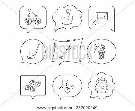 Ice Hockey, Football And Basketball Icons. Fitness Sport, Baseball And Bowling Linear Signs. Biking,