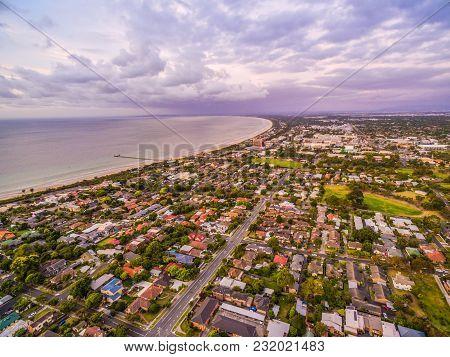 Aerial View Of Coastal Suburban Area In Australia