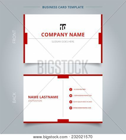 Creative Business Card And Name Card Template Technology Geometric Red Color Minimal Background. Abs