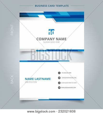 Creative Business Card And Name Card Template Technology Geometric Blue Color Shiny Motion Backgroun