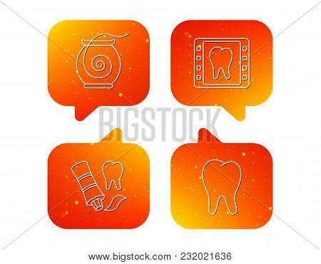 Dental Floss, Tooth And Toothpaste Icons. Dental X-ray Linear Sign. Orange Speech Bubbles With Icons