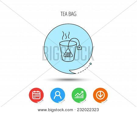 Tea Bag Icon. Natural Hot Drink Sign. Breakfast Beverage Symbol. Calendar, User And Business Chart,