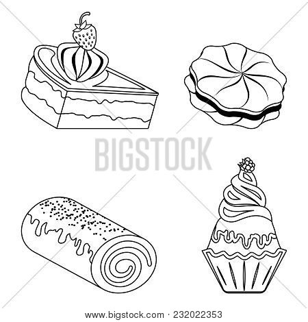 Confection, Bakery Products. Piece Of Cream Cake, Cupcake, Sweet Roll, Cookies. Outline Badge
