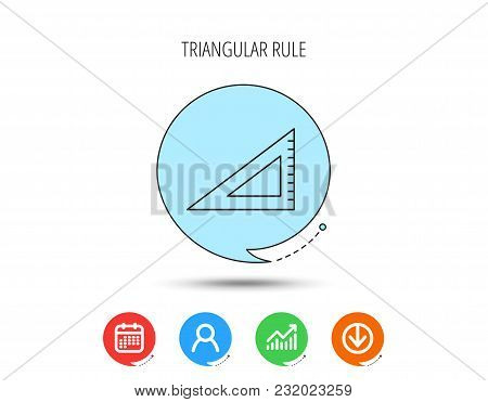 Triangular Ruler Icon. Straightedge Sign. Geometric Symbol. Calendar, User And Business Chart, Downl