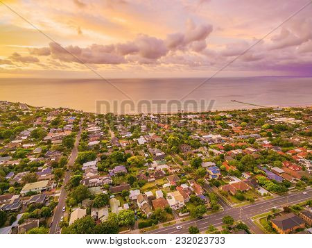 Aerial View Of Typical Coastal Suburban Area In Victoria, Australia