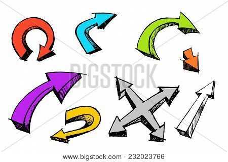 Arrow Cartoon Set 3d Style Isolated On White Background. Hand Made Brush Ink Grunge сalligraphy Hand